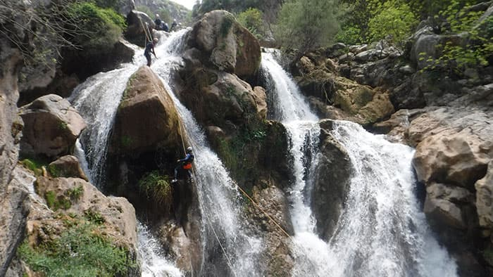 22 meters abseiling in upper guadalquivir gorge