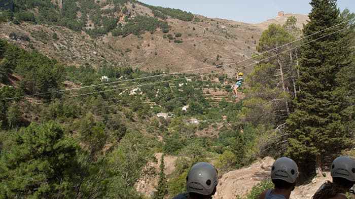 tirolina, rápel y escalada en Cazorla